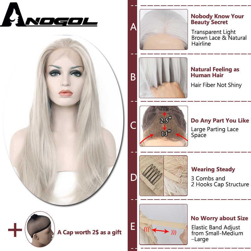 Anogol fibra de alta temperatura prata cinza onda longa natural perucas brancas peruca dianteira do laço sintético para cosplay feminino