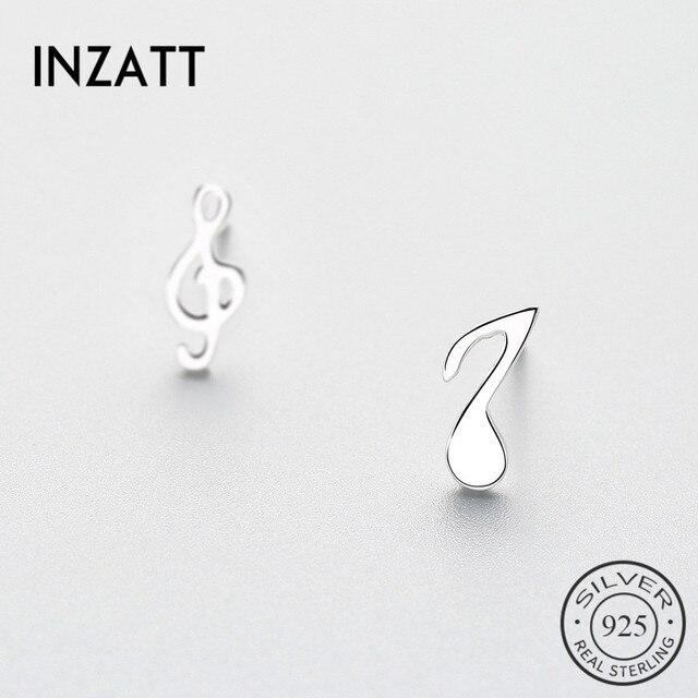 INZATT Asymmetry Real 925 Sterling Silver Musical note Stud Earrings For Charm W