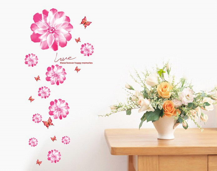 Romantic small red flowers removable wall stickers self for Red flower wallpaper living room