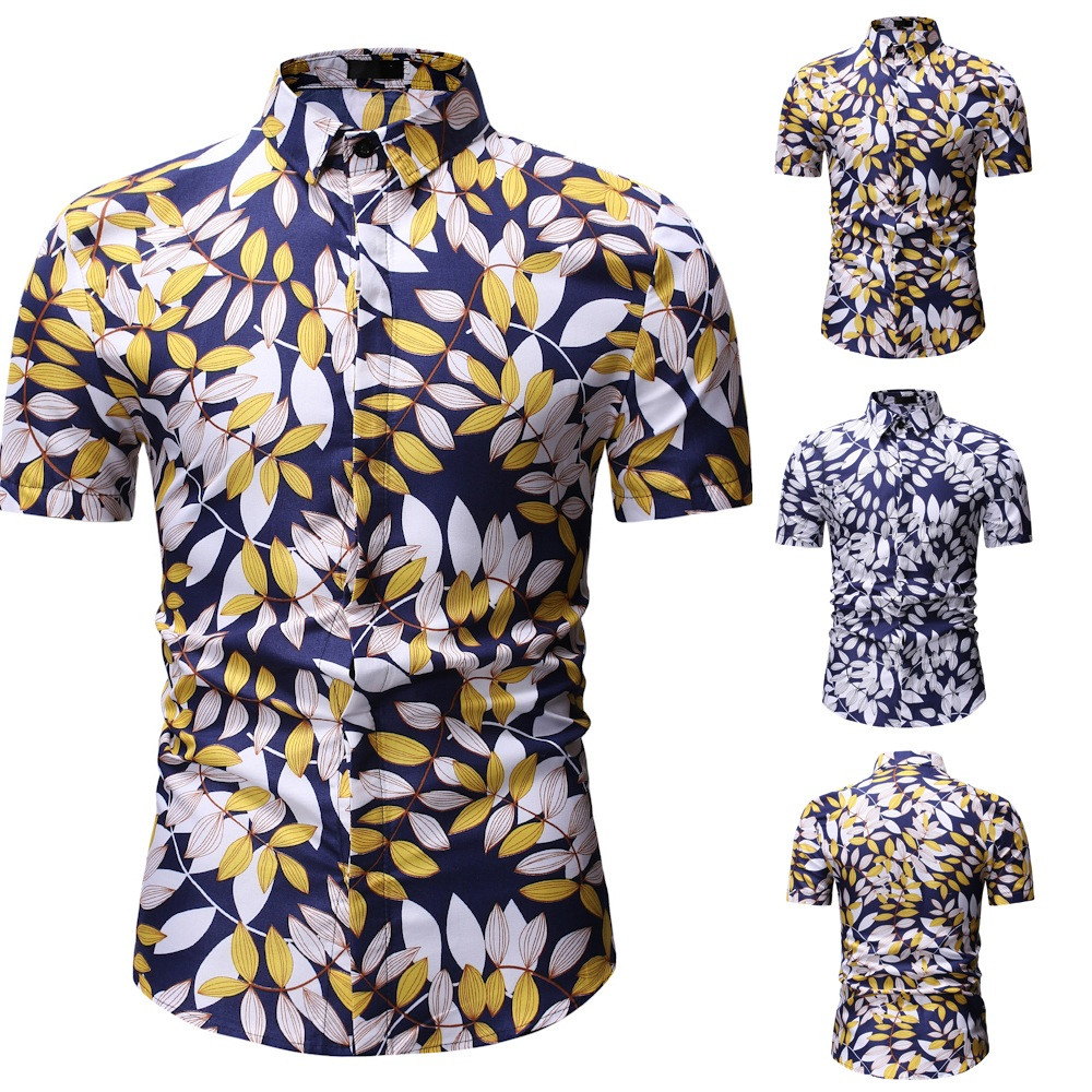 New Arrival 2019 Fashion Mens Short Sleeve Hawaiian Shirt 10 Colors Summer Casual Clothes Floral Shirts For Men Asian Size M-3XL