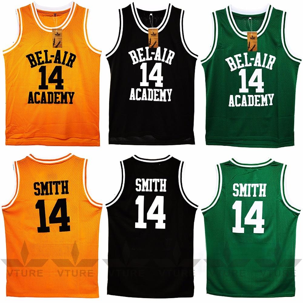 VTURE Basketball T-shirts Will Smith #14 Bel Air Academy Basketball Jerseys 44 rev 30 44 pistol pete basketball jerseys