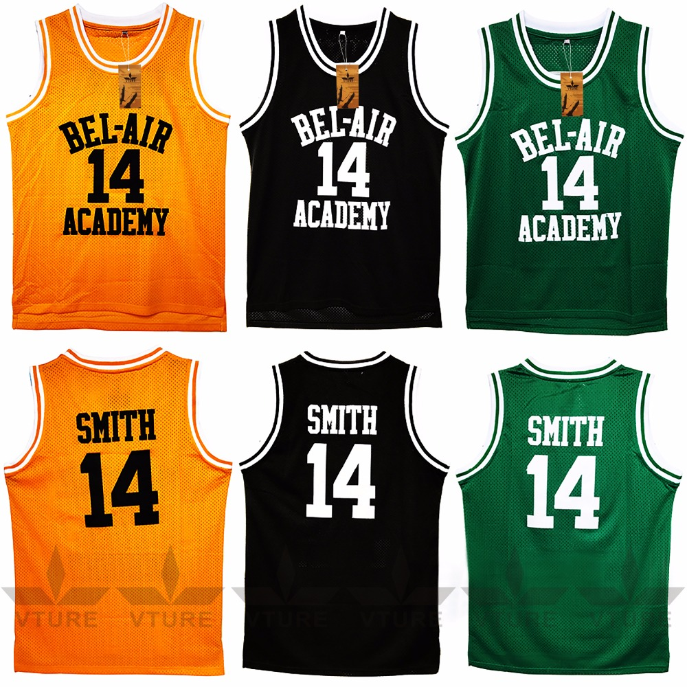 VTURE Basketball T-shirts Will Smith #14 Bel Air Academy Basketball Jerseys
