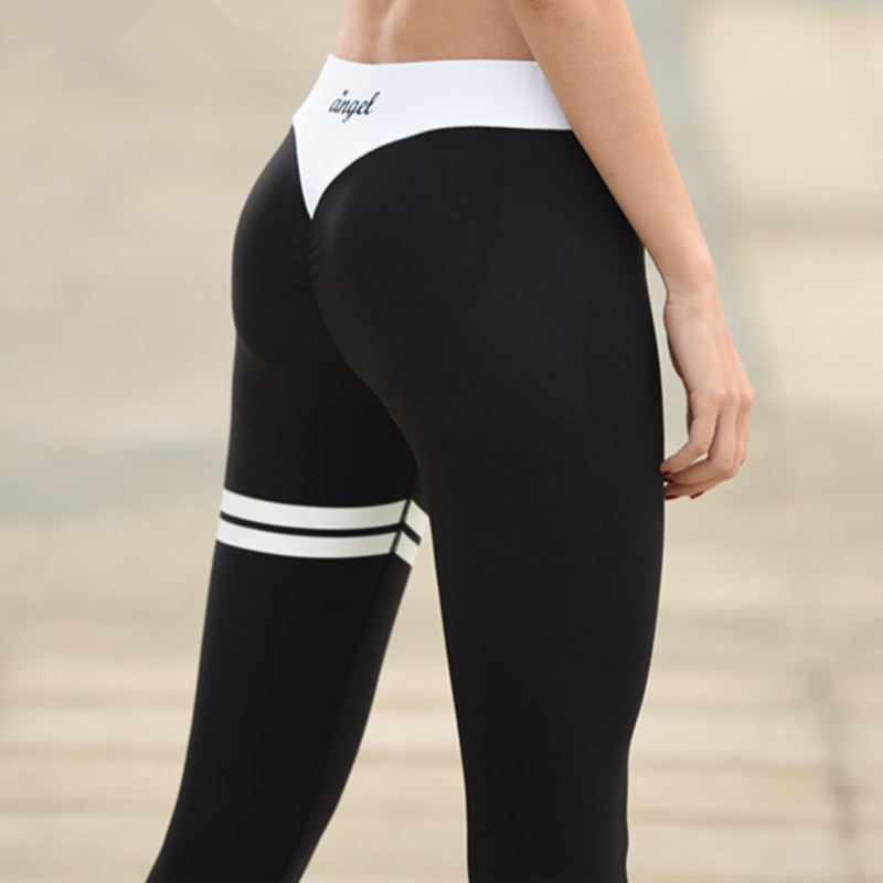 Grey Letter Print Yoga Tights Black And White Collision Women Fitness Sport Leggings High Elastic Push Up Yoga Pants active letter print u neck sports bra and pants twinset for women