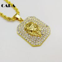 CARA New Arrival Gold Color Zinc Alloy Full Rhinestone Square Tablet Lion Pendant Necklace Bling Bling