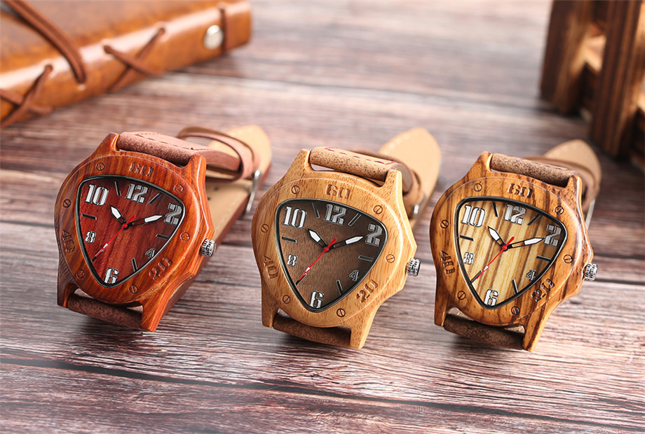 genuine leather band pink buckle quartz bamboo watches13