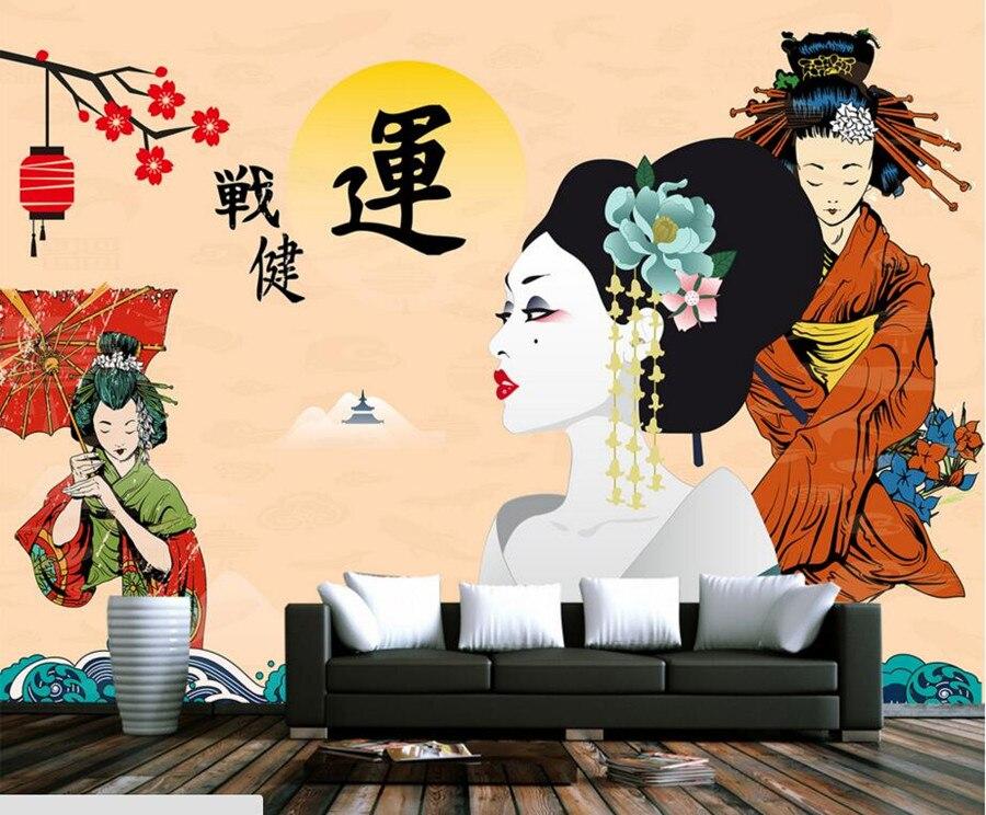 Peintures murales personnalisées, beau papier peint de beauté kimono japonais, restaurant salon tv canapé mur chambre papier peint pour murs 3 d