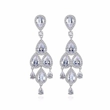 Luxury Long Dangle Earrings for Woman Waterdrop Cubic Zircon Crystal Wedding Party Delicate Jewelry Accessories Gift