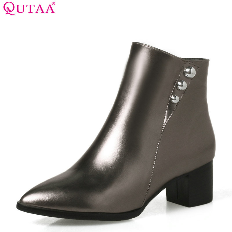QUTAA 2018 Women Ankle Boots Zipper Pu Leather Square Mid Heel Pointed Toe Fashion Solid Black Winter Women Boots Size 33-43 qutaa 2018 black women ankle boots square high heel pointed toe genuine leather fashion zipper women motorcycle boots size 34 42