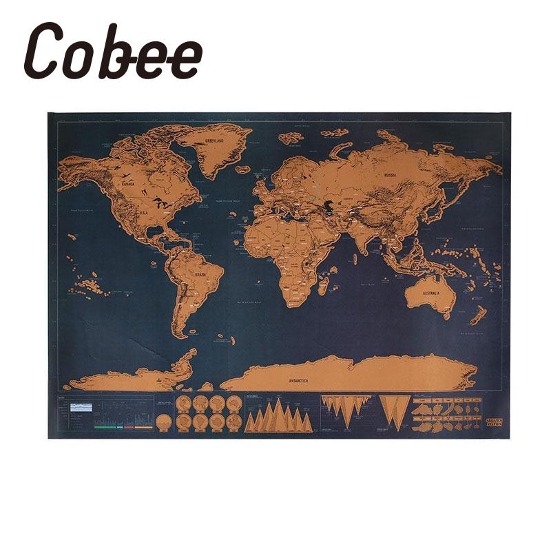 Cobee New Colorful Personalized World Map Poster Wall Chart Labeled Countries Decorative wall  for living room travel yt0286 italy 2013 luca renaissance wall map 1 new 0521