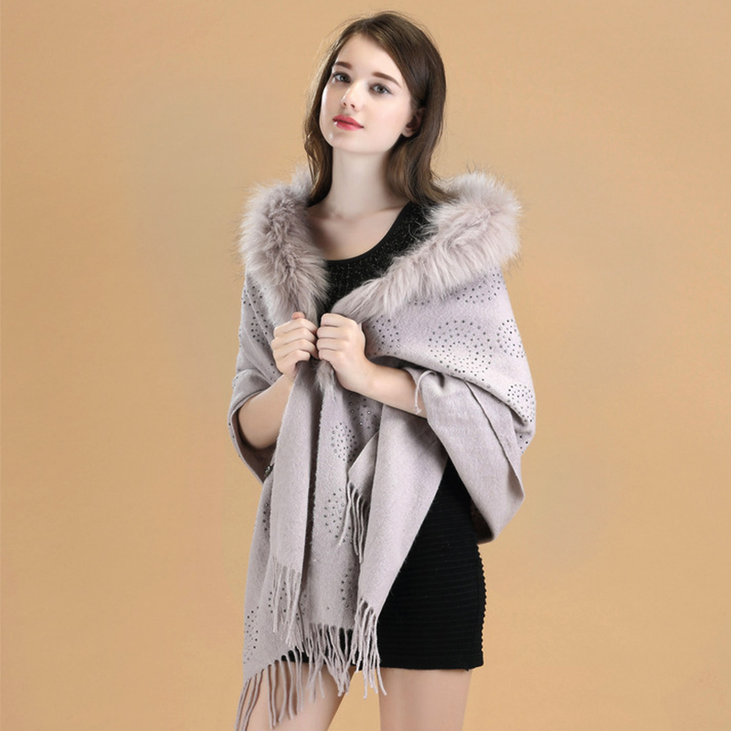Special Design Luxurious Cashmere Chic Wool Poncho Coat For Women Ladies Female Shawl Wraps Pashmina Hot Drilling Process