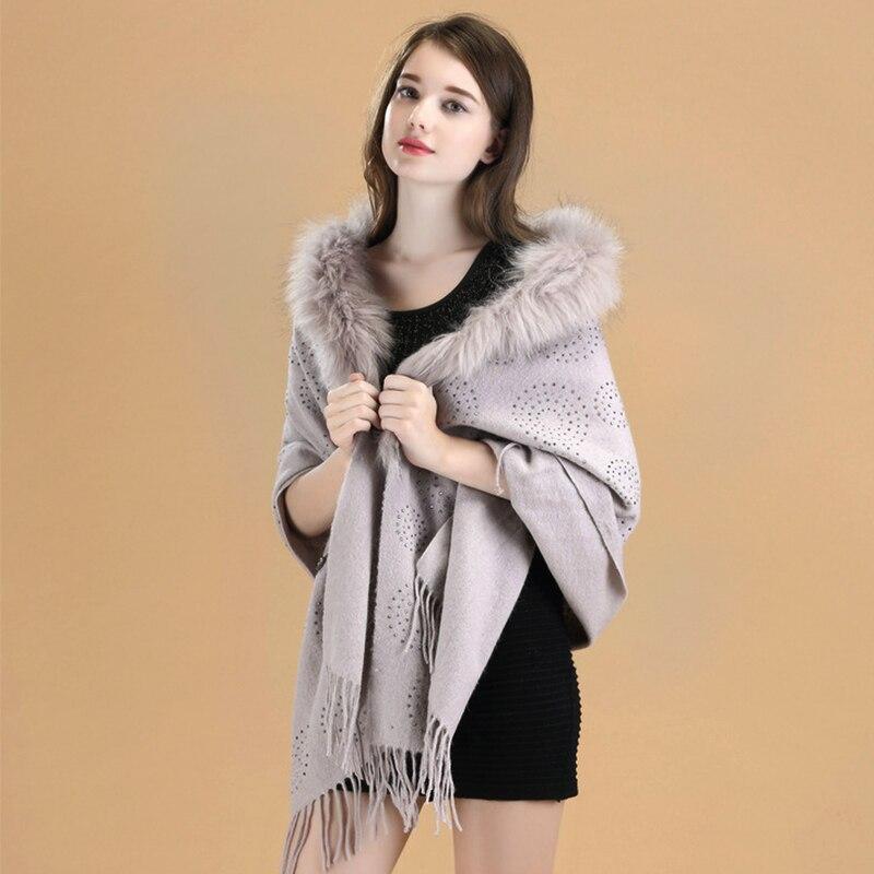 Conception spéciale luxueux cachemire Chic laine Poncho manteau pour femmes dames femme châle enveloppe Pashmina processus de forage à chaud