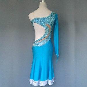 Image 2 - Nuovo stile di costumi di ballo latino sexy di alto livello spandex diamante maniche lunghe del vestito da ballo latino per le donne abiti da ballo latino S 4XL