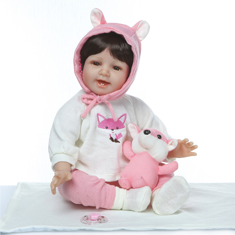 Nicery 20 22inch 50 55cm Bebe Reborn Doll Soft Silicone Boy Girl Toy Reborn Baby Doll Gift for White Clothes With Fox-in Dolls from Toys & Hobbies    1