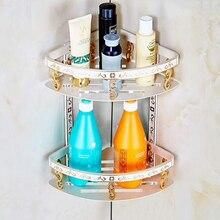 FLG Bathroom Shelf Space Aluminum White Double Layer bathroom Corner Shelves Holder Basket Acessories