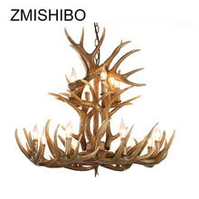 ZMISHIBO Vintage LED Chandelier Lighting For Dining Room Risen Antler Shape 6/9/12 Head Pendant Ceiling Lamp Suspension Luminary
