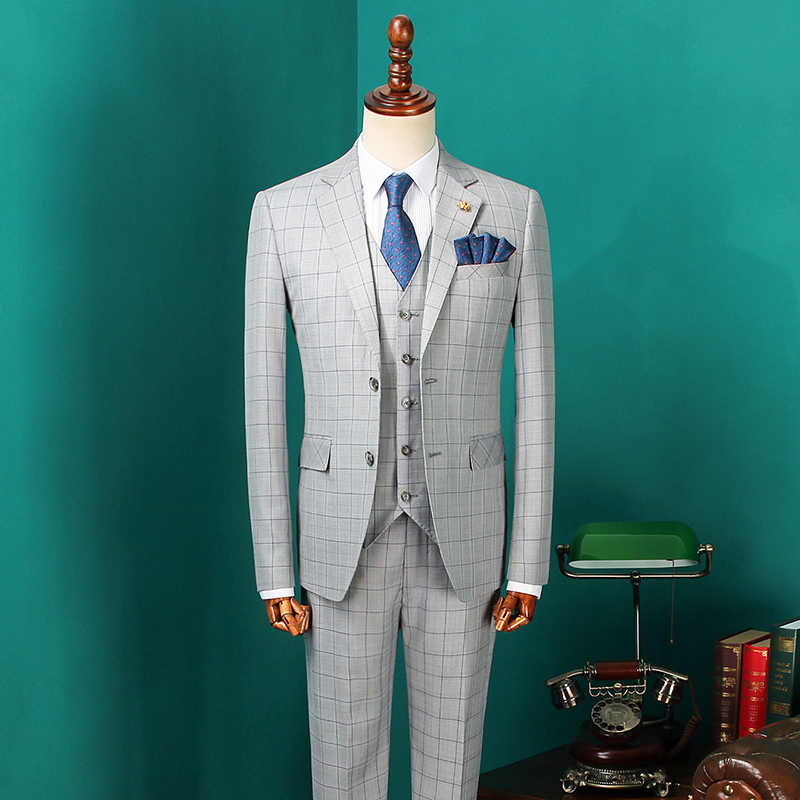 Men's Vintage Suits 2019 Male Fashion Blazers Men Korean Suits for Wedding Mens Three Pieces Grey Plaid Suit Jacket CBTZ28