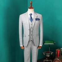 Men's Vintage Suits 2018 Male Fashion Blazers Men Korean Suits for Wedding Mens Three Pieces Grey Plaid Suit Jacket CBTZ28