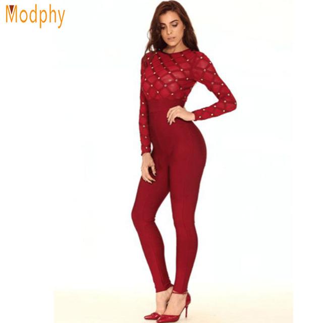 Modphy malla rebordear largo negro rojo vendaje del mono 2016 nuevas mujeres sexy otoño invierno manga larga body dropshipping HL725