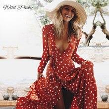 WildPinky Spring Summer Ladies Long Dress Red Dot Beach Maxi Women Evening Party Sundress Vestidos de festa