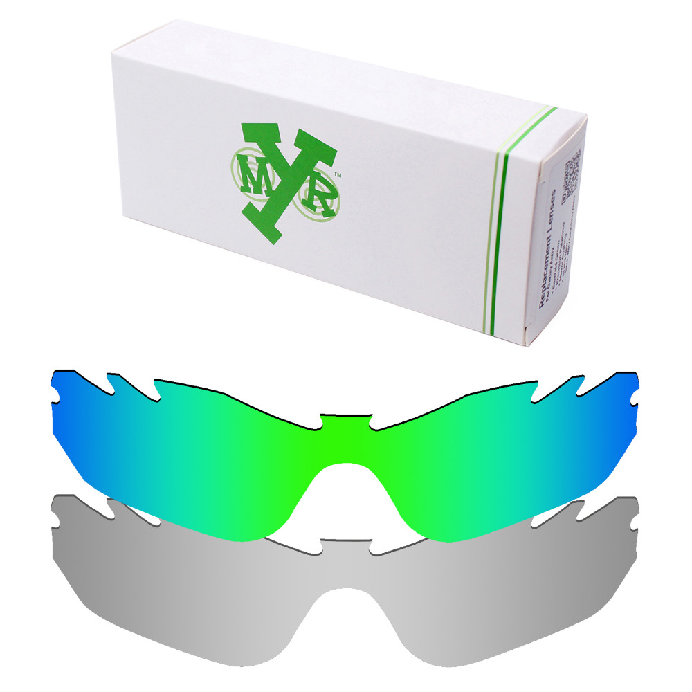 f46e65cfdee59 2 Pieces Mryok POLARIZED Replacement Lenses for Oakley Radar Edge Vented  Sunglasses Lens Silver Titanium   Emerald Green