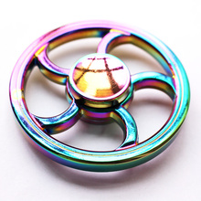 Rainbow WHEEL Tri-Fidget Hand Finger Spinner Zinc Alloy or Autism Focus EDC Toy