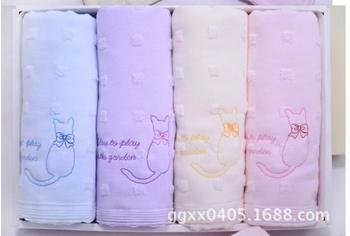 45pcs/lot! Lovely Cute Printed Cat Face Towel 100% Cotton Healthy Towel For Gift Decorative Bathroom Towels