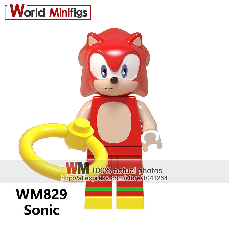 50pcs Building Blocks Super Sonic Anime Sonic Shadow Knuckles Princess Girl Figure Snow World Series For Kids Children Toys Model Building