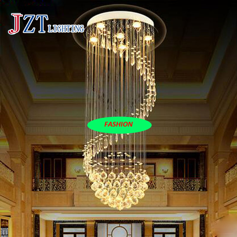 10 Best Of Modern Stairwell Pendant Lighting: Modern K9 Crystal Round Pendant Lamp Villa Stair Lamp