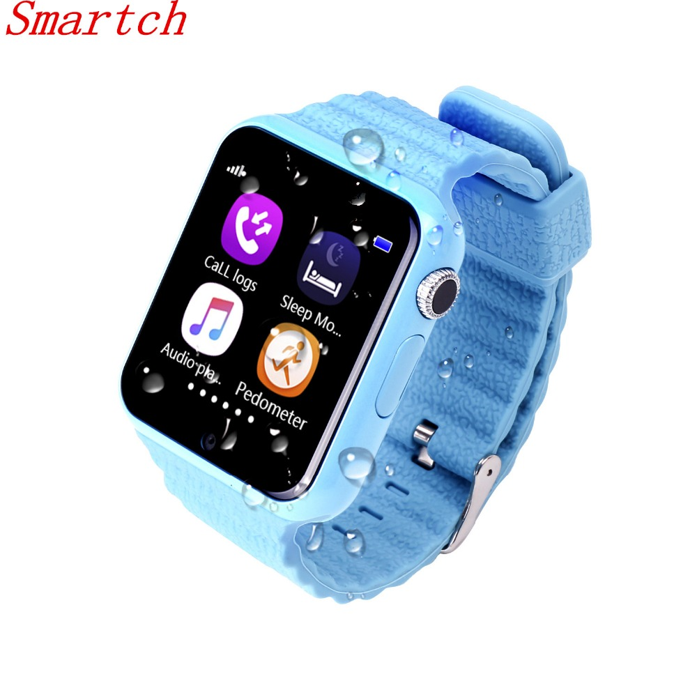 Smartch Waterproof GPS Smart Watch for Child Baby Watch V7k with Camera SOS Call Location Tracker for Kid Safe