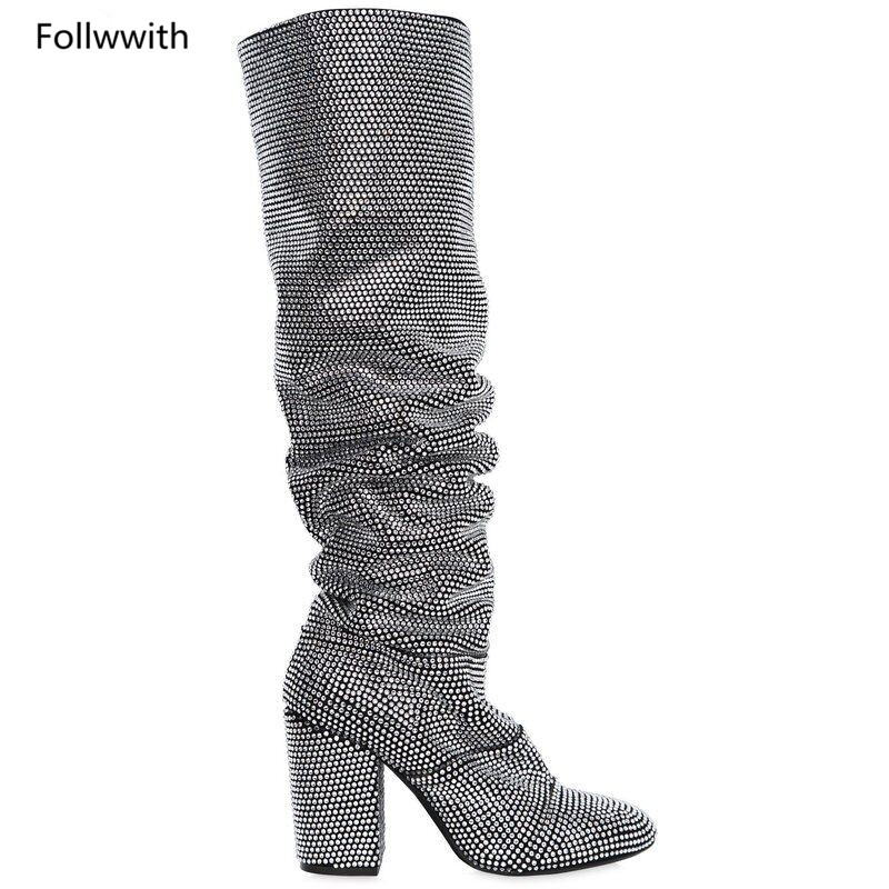 La Zapatos 2018 Estilos Nuevo Mujeres as 1 Caliente Cuero Pic As Botas Real Pic multi Largo Bling Rodilla Mujer Cristal as Riri Rhinestons Pic Cubierta crystal 0wwqav7
