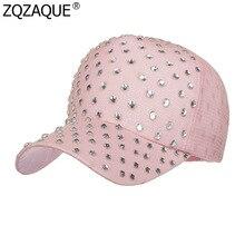 Primavera Verano mujeres de Color sólido gorra de béisbol moda diamantes  decoraciones visera parasol muchachas todo c19bc90b8cf