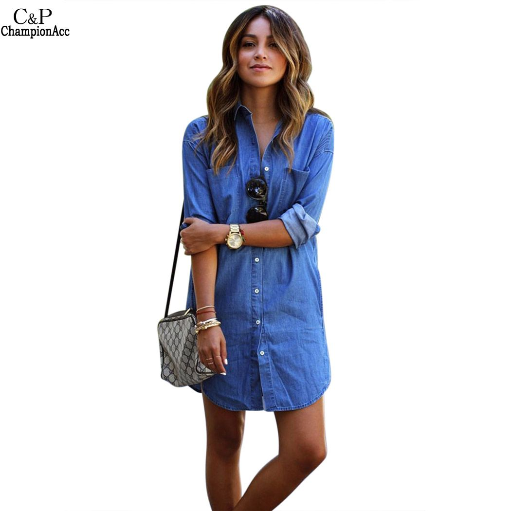 Popular Denim Shirt Dress-Buy Cheap Denim Shirt Dress lots from ...