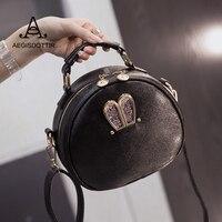Cute Women Totes Bag Fashion Circular PU Leather Retro Brand Metal Ring Handbag For Girl Small