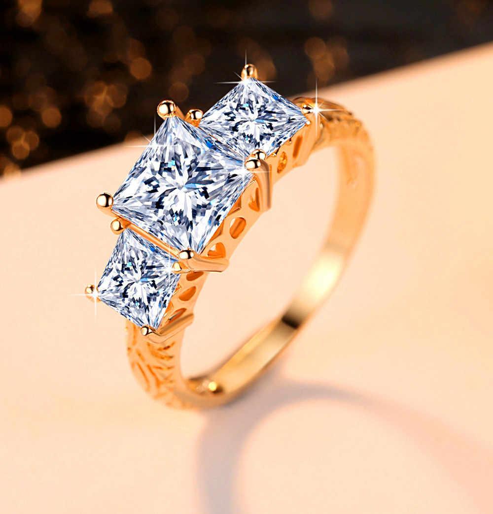 น่ารักหญิงคริสตัล Zircon แหวนแฟชั่น 18KT สีเหลืองทองเครื่องประดับแหวนแต่งงาน Vintage