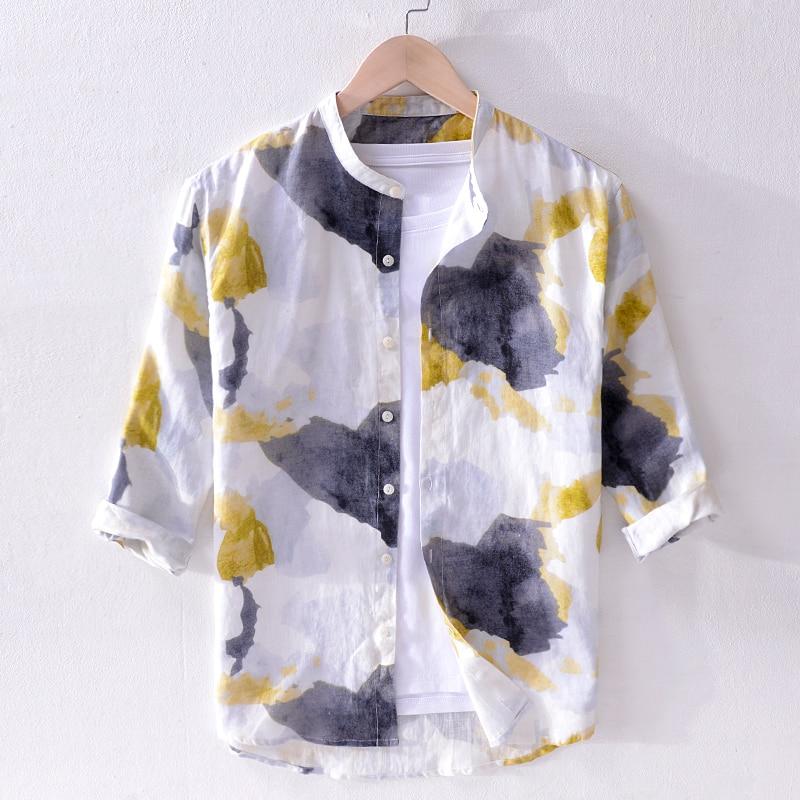 2019 Summer New Spray Pure Linen Shirt Men Brand Three-quarter Sleeve Shirt Mens Stand Collar Casual Shirts Men Yellow Chemise