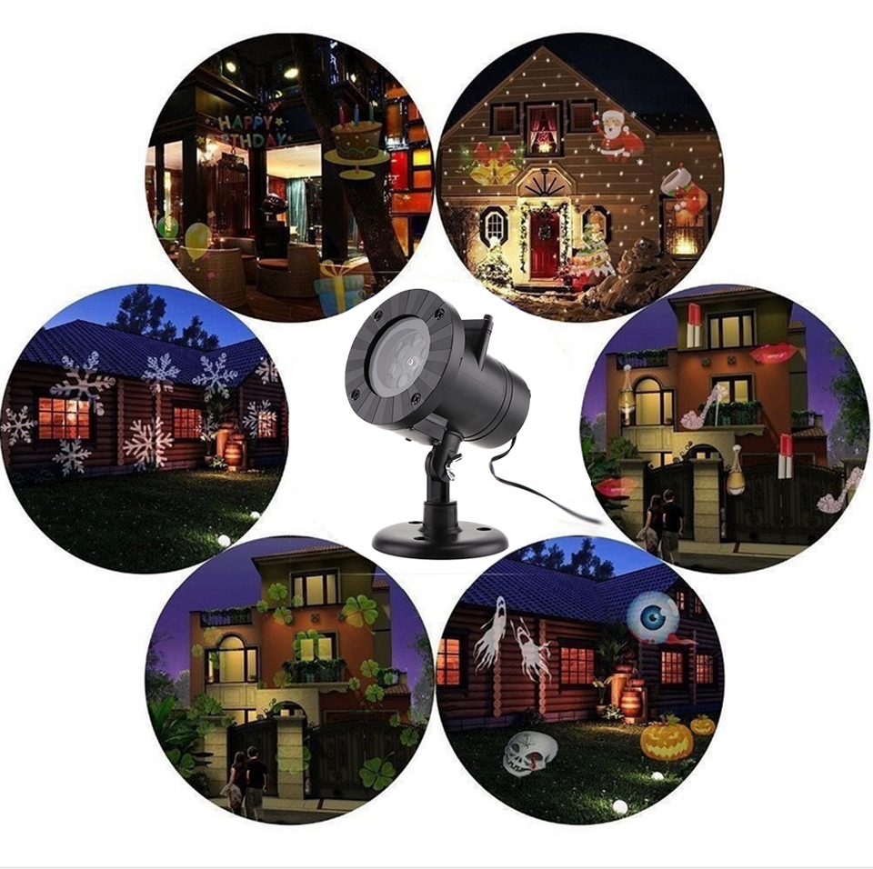 Image 3 - 12 Patterns Christmas Laser Snowflake Projector Halloween Outdoor LED Disco Lights Home Garden Star Light Indoor Decoration-in Stage Lighting Effect from Lights & Lighting