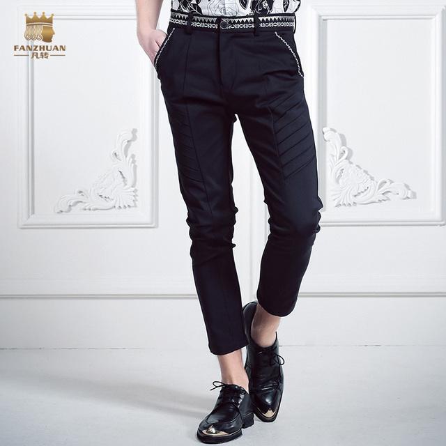 Envío de la manera Doble raya ocasional masculina de Los Hombres delgados pantalones de cintura masculina pantalones bordados de flores de verano A La Venta
