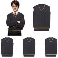 Sweater Vest Badge Harri Potter School Uniform Slytherin Gryffindor Ravenclaw Cosplay Costume Man Waistcoat V Neck