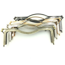 2Pcs Fashion Metal Clutch Rectangle Frame Kiss Clasps Lock Buckles Fermoir Handbag Handle 30x12cm, 4 Colors