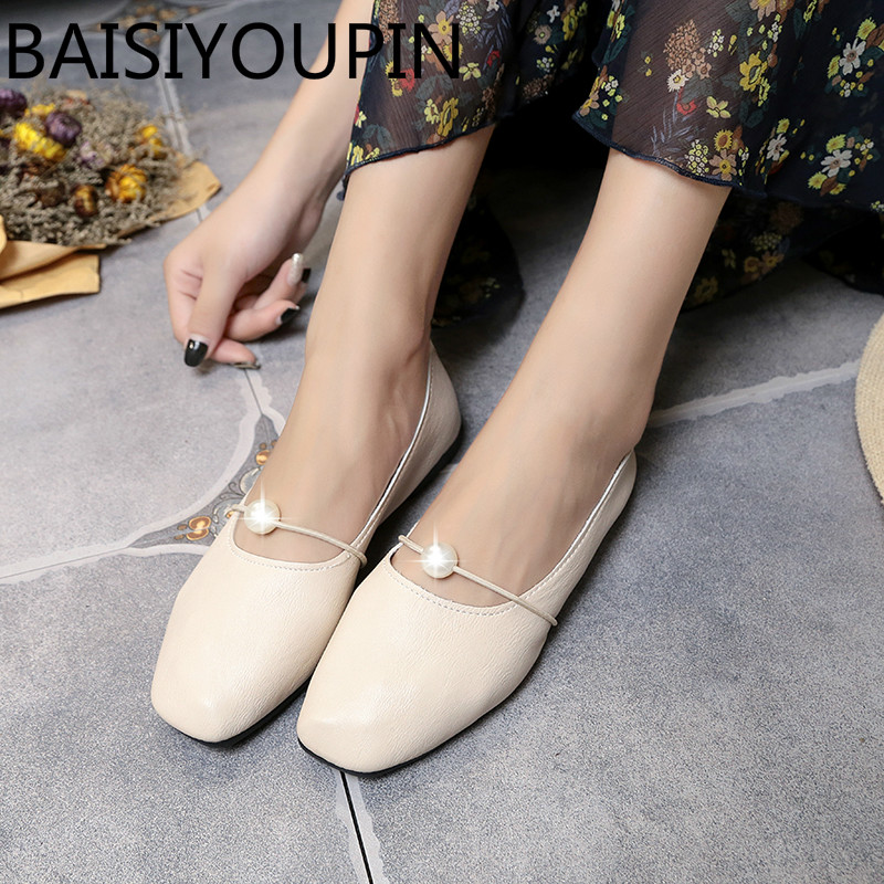 2018 Women Soft Ballet Flats Spring Shoes with Flat Shoe for Girl with Pearl Single Shoes Female Causal Flats Shoes Daily Shoes
