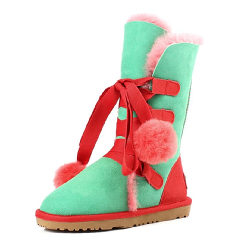 5f51d5e42 Forrado púrpura Huecas Niñas Invierno Nieve Mujeres verde Las Diseño Oveja  gris Negro Encaje Zapatos Para Piel rose Lana ...