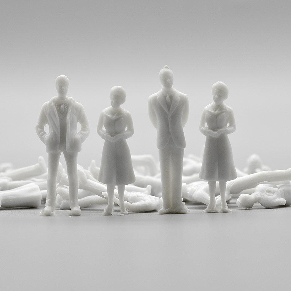 100pcs 1:50 Architecture Model Maker Miniature White Figures Architectural Model Human Scale ABS Plastic People