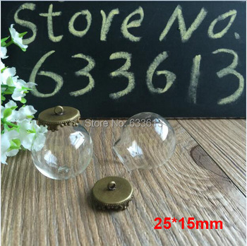 200sets/lot 25*15mm Glass Globe bronze Crown with ring Pendant Locket Charm wide opening glass Bottle, glass vials pendeants