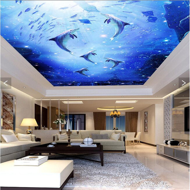 living background modern bedroom 3d sky sea ceiling wall soar dolphin murals zoom mural mouse