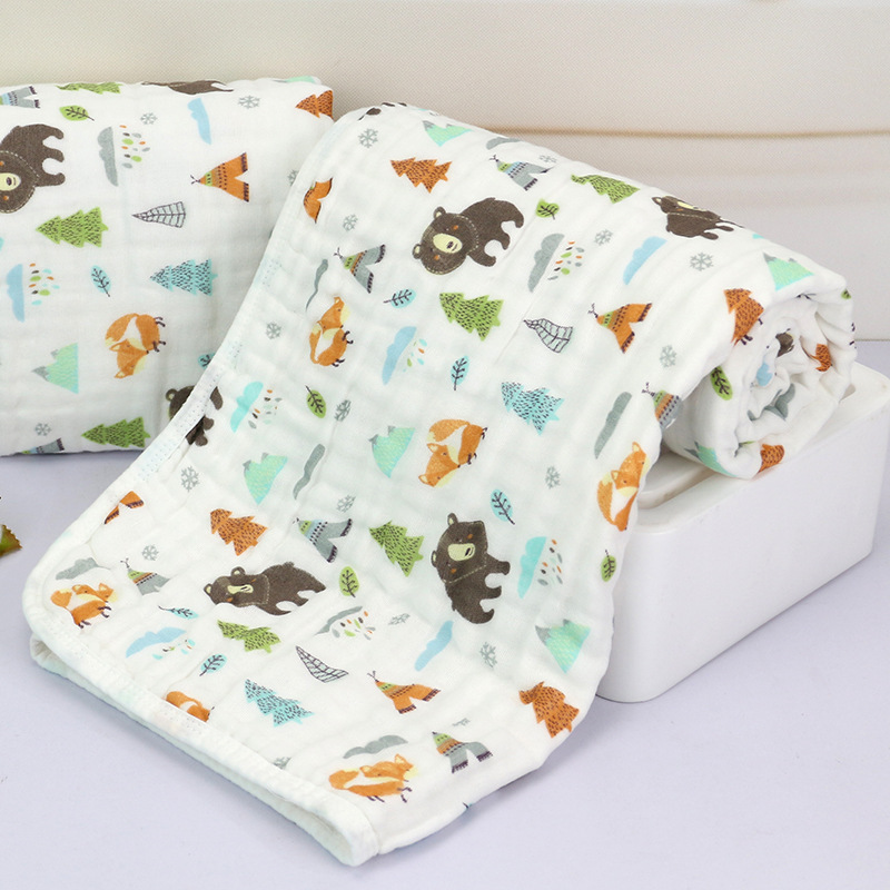 Baby Blanket Bedding 110 CM Newborn Muslin Cotton Swaddle Wrap Kids 3 Layers Thicken Gauze Receiving blanket baby blanket bedding 110cm newborn muslin cotton swaddle wrap kids 6 layers thick receiving blanket gauze bath towel baby boys