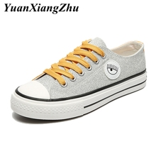 2019 fashion sneakers women shoes sequin canvas woman Lace-up casual girl summer breathable basket femme trainers