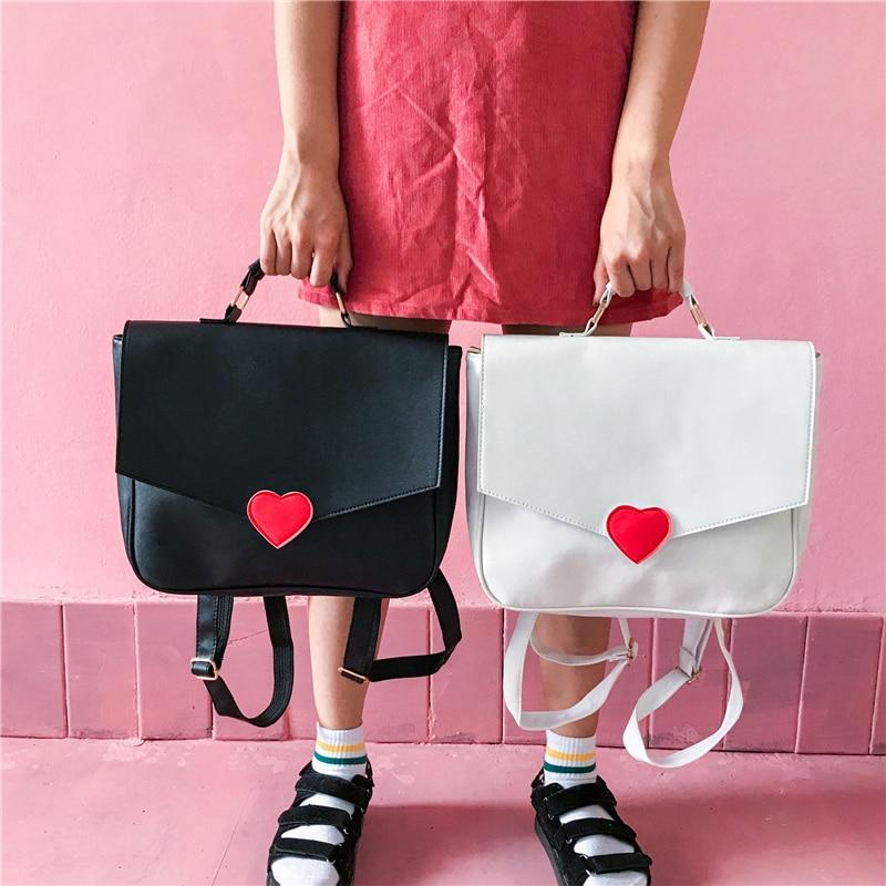 Korean Japanese Kawaii College Wind Love Student Travel Backpack Bags PU Backpack