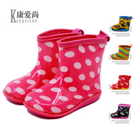Original Baby Boy Girl Boy Rain Boot Cute Waterproof Shoe Children Slip Rainbow Dot Pink Blue
