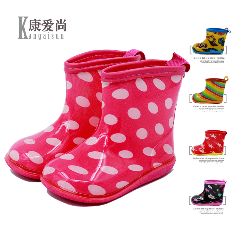 Original Baby Boy Girl Boy Rain Boot Cute Waterproof Shoe Children Slip Rainbow Dot pink Blue