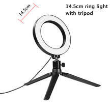 Table Tripod Living Broadcast Dimmable LED Ring Light 5.7'' 6'' 8'' 10'' Ring Lamp Fill Light for Makeup lighting Beauty Room(China)